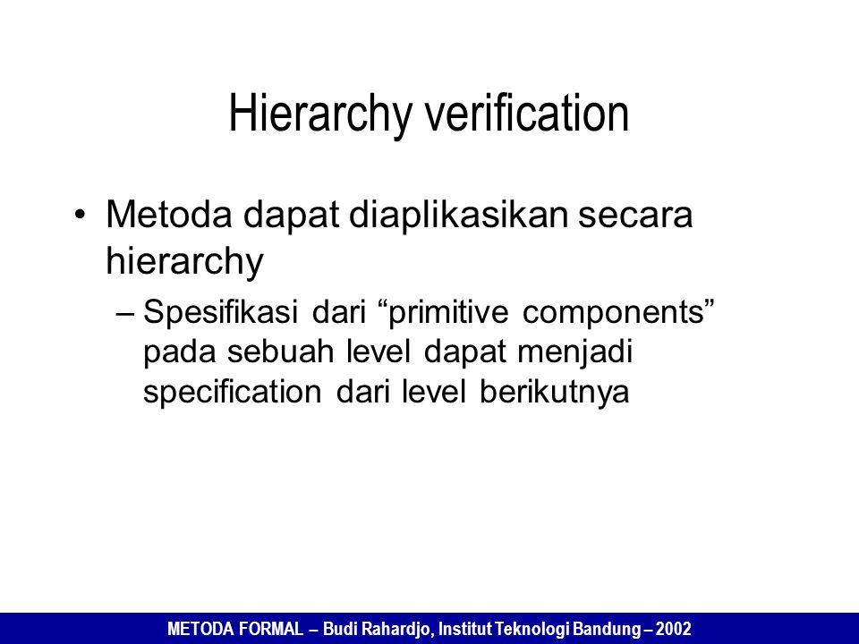 METODA FORMAL – Budi Rahardjo, Institut Teknologi Bandung – 2002 Hierarchy verification Metoda dapat diaplikasikan secara hierarchy –Spesifikasi dari primitive components pada sebuah level dapat menjadi specification dari level berikutnya