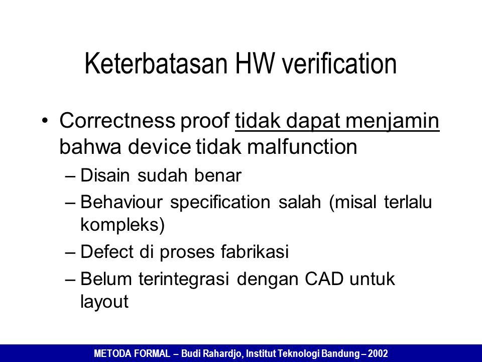 METODA FORMAL – Budi Rahardjo, Institut Teknologi Bandung – 2002 Keterbatasan HW verification Correctness proof tidak dapat menjamin bahwa device tidak malfunction –Disain sudah benar –Behaviour specification salah (misal terlalu kompleks) –Defect di proses fabrikasi –Belum terintegrasi dengan CAD untuk layout