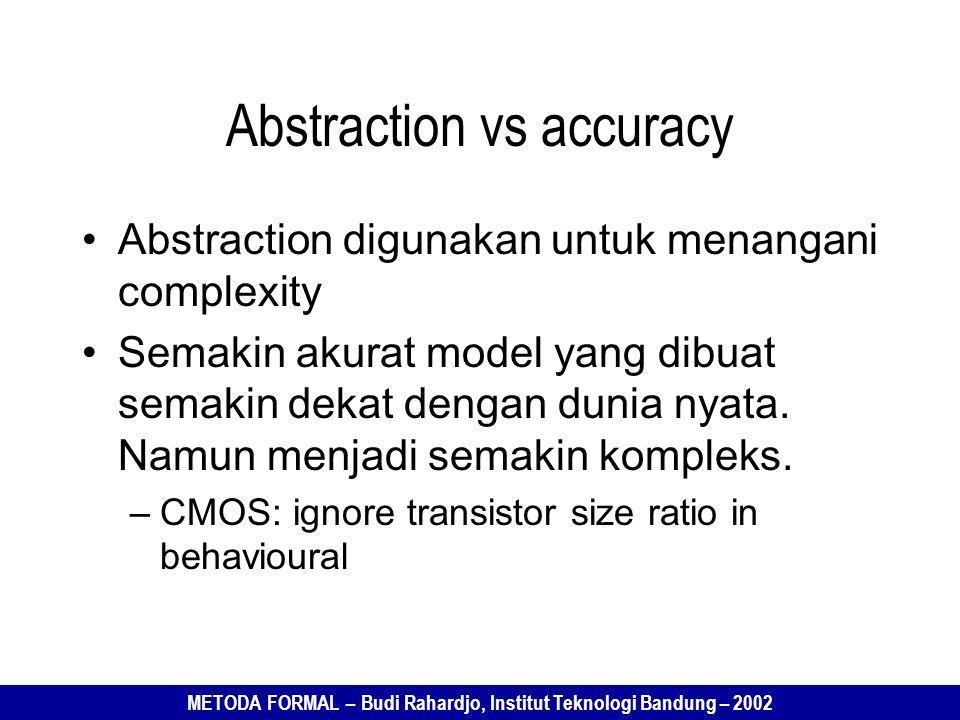 METODA FORMAL – Budi Rahardjo, Institut Teknologi Bandung – 2002 Abstraction vs accuracy Abstraction digunakan untuk menangani complexity Semakin akurat model yang dibuat semakin dekat dengan dunia nyata.
