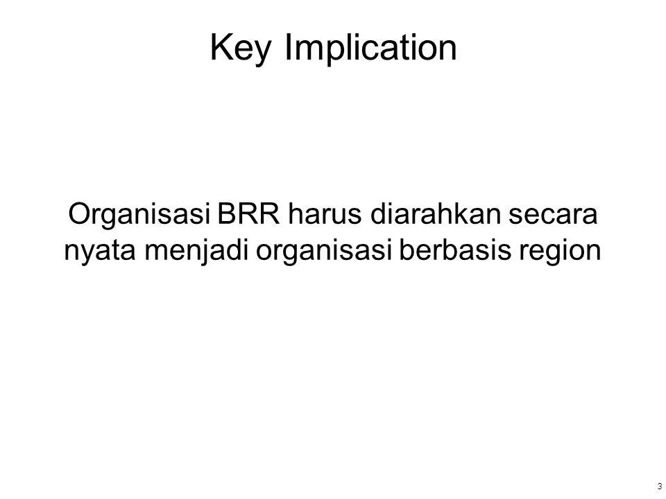 3 3 Key Implication Organisasi BRR harus diarahkan secara nyata menjadi organisasi berbasis region