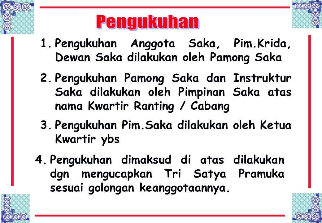 1.Pengukuhan Anggota Saka, Pim.Krida, Dewan Saka dilakukan oleh Pamong Saka 2.Pengukuhan Pamong Saka dan Instruktur Saka dilakukan oleh Pimpinan Saka