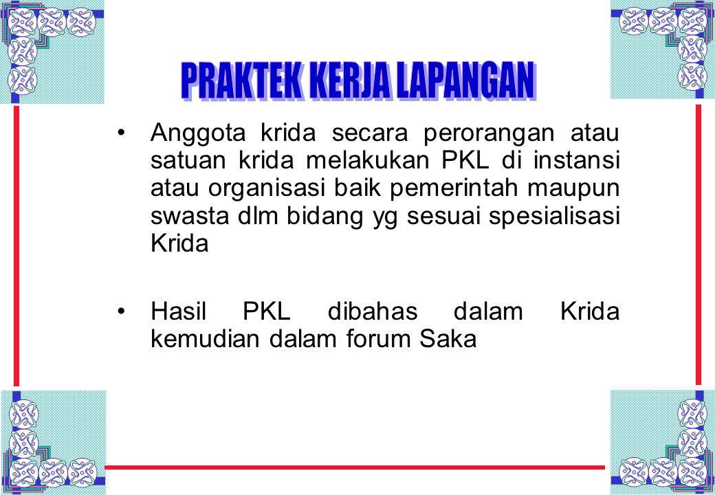Anggota krida secara perorangan atau satuan krida melakukan PKL di instansi atau organisasi baik pemerintah maupun swasta dlm bidang yg sesuai spesial
