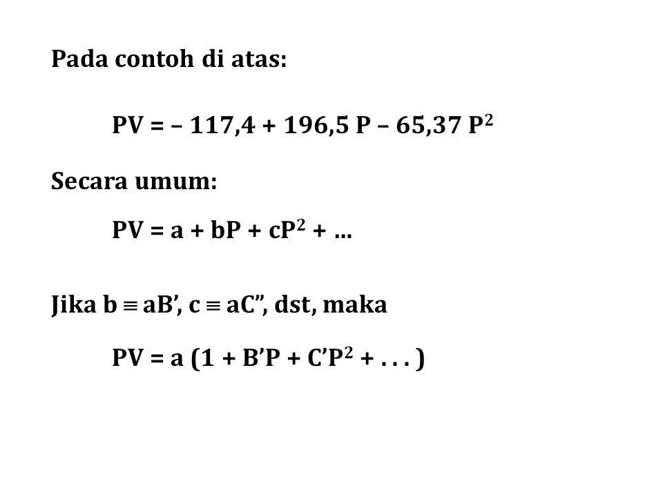 """PV = a + bP + cP 2 + … PV = a (1 + B'P + C'P 2 +... ) Jika b  aB', c  aC"""", dst, maka Pada contoh di atas: PV = – 117,4 + 196,5 P – 65,37 P 2 Secara"""