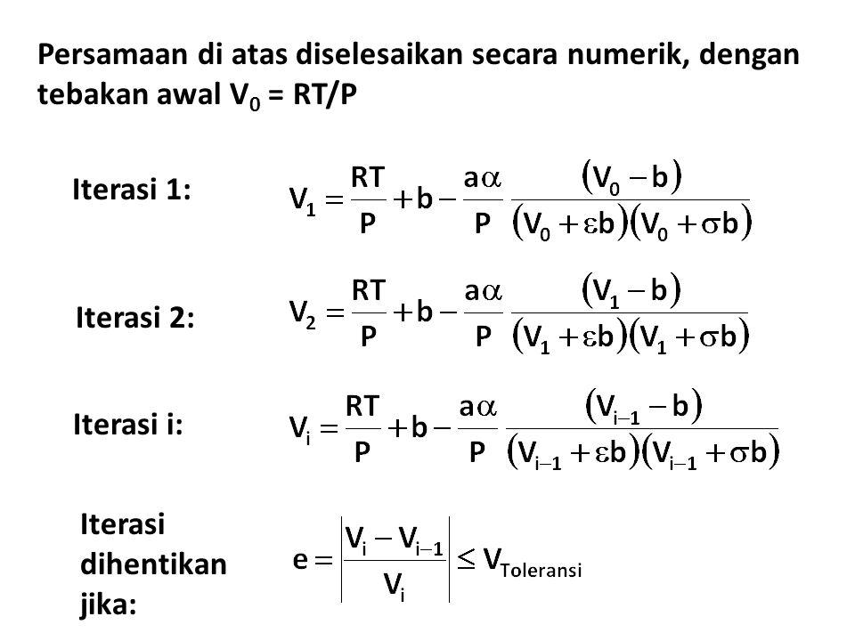 Persamaan di atas diselesaikan secara numerik, dengan tebakan awal V 0 = RT/P Iterasi 1: Iterasi 2: Iterasi i: Iterasi dihentikan jika: