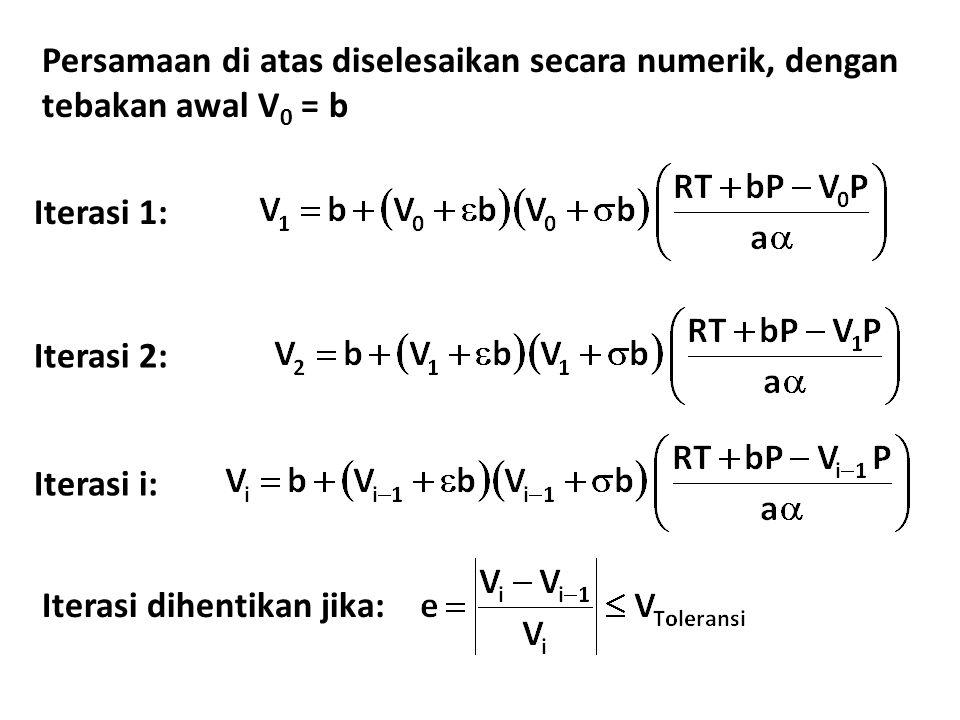 Persamaan di atas diselesaikan secara numerik, dengan tebakan awal V 0 = b Iterasi 1: Iterasi 2: Iterasi i: Iterasi dihentikan jika: