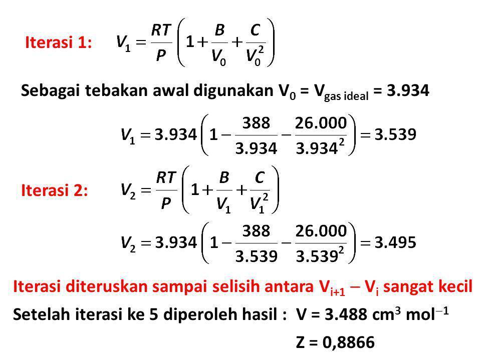 Iterasi 1: Sebagai tebakan awal digunakan V 0 = V gas ideal = 3.934 Iterasi 2: Iterasi diteruskan sampai selisih antara V i+1  V i sangat kecil Setel