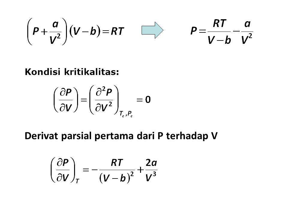 Kondisi kritikalitas: Derivat parsial pertama dari P terhadap V
