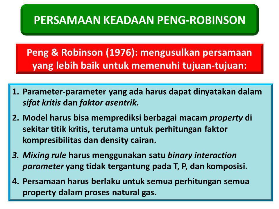 PERSAMAAN KEADAAN PENG-ROBINSON Peng & Robinson (1976): mengusulkan persamaan yang lebih baik untuk memenuhi tujuan-tujuan: 1.Parameter-parameter yang ada harus dapat dinyatakan dalam sifat kritis dan faktor asentrik.