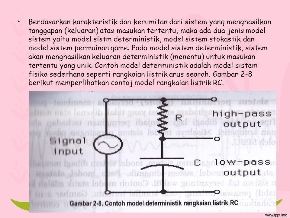 Berdasarkan karakteristik dan kerumitan dari sistem yang menghasilkan tanggapan (keluaran) atas masukan tertentu, maka ada dua jenis model sistem yait