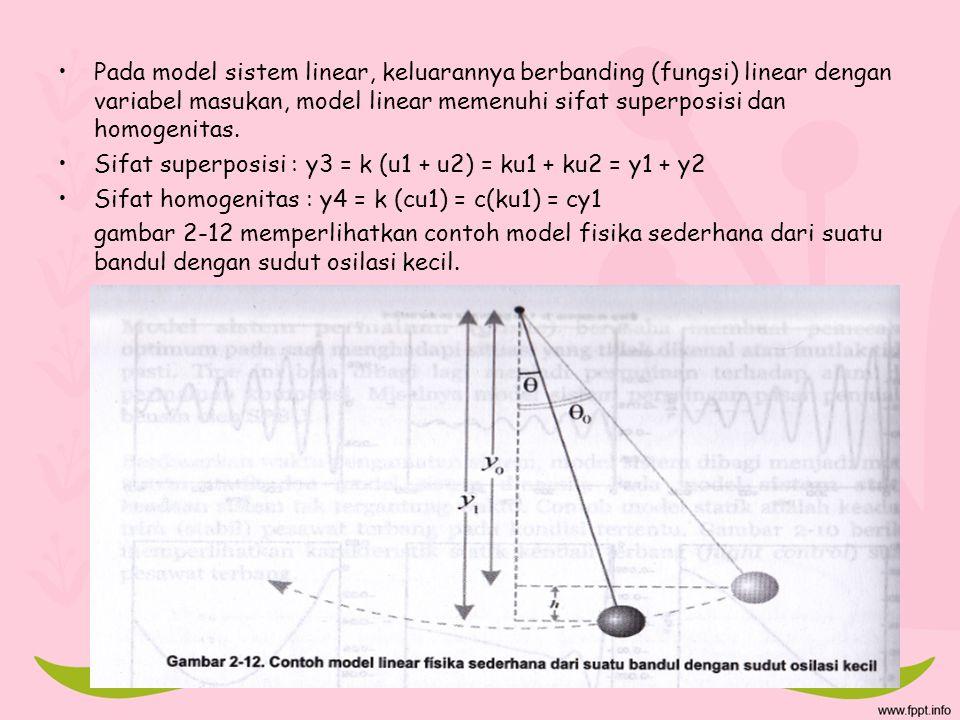Pada model sistem linear, keluarannya berbanding (fungsi) linear dengan variabel masukan, model linear memenuhi sifat superposisi dan homogenitas. Sif