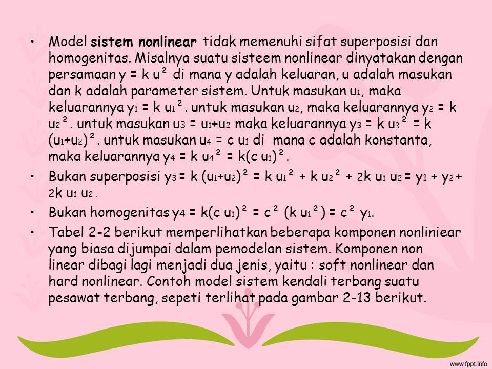 Model sistem nonlinear tidak memenuhi sifat superposisi dan homogenitas. Misalnya suatu sisteem nonlinear dinyatakan dengan persamaan y = k u² di mana