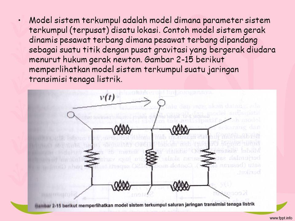 Model sistem terkumpul adalah model dimana parameter sistem terkumpul (terpusat) disatu lokasi. Contoh model sistem gerak dinamis pesawat terbang dima