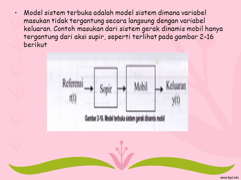 Model sistem terbuka adalah model sistem dimana variabel masukan tidak tergantung secara langsung dengan variabel keluaran. Contoh masukan dari sistem