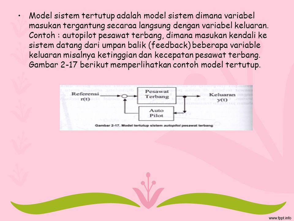 Model sistem tertutup adalah model sistem dimana variabel masukan tergantung secaraa langsung dengan variabel keluaran. Contoh : autopilot pesawat ter