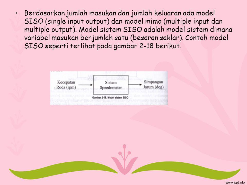 Berdasarkan jumlah masukan dan jumlah keluaran ada model SISO (single input output) dan model mimo (multiple input dan multiple output). Model sistem