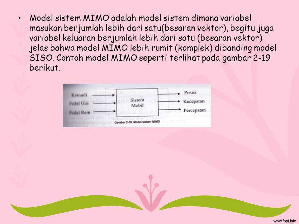 Model sistem MIMO adalah model sistem dimana variabel masukan berjumlah lebih dari satu(besaran vektor), begitu juga variabel keluaran berjumlah lebih