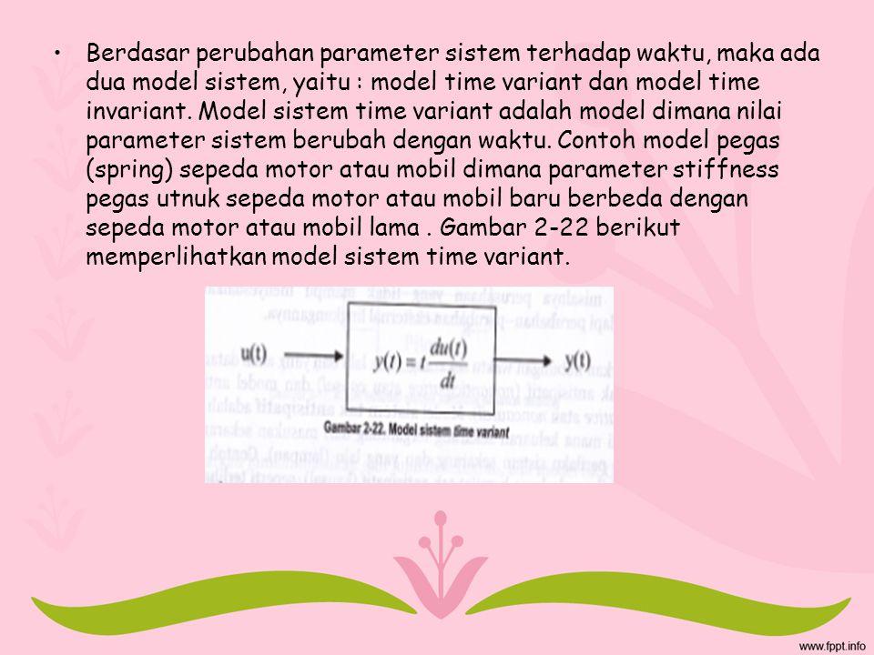 Berdasar perubahan parameter sistem terhadap waktu, maka ada dua model sistem, yaitu : model time variant dan model time invariant. Model sistem time