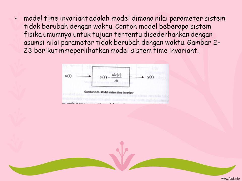 model time invariant adalah model dimana nilai parameter sistem tidak berubah dengan waktu. Contoh model beberapa sistem fisika umumnya untuk tujuan t