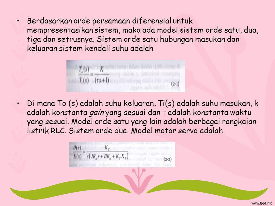 Berdasarkan orde persamaan diferensial untuk mempresentasikan sistem, maka ada model sistem orde satu, dua, tiga dan setrusnya. Sistem orde satu hubun