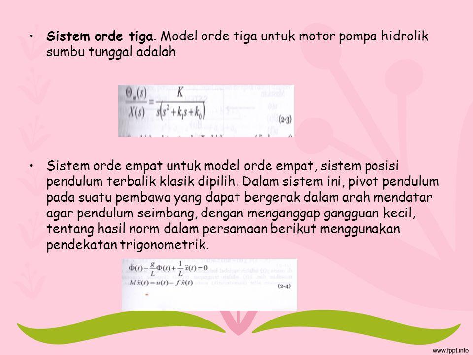 Sistem orde tiga. Model orde tiga untuk motor pompa hidrolik sumbu tunggal adalah Sistem orde empat untuk model orde empat, sistem posisi pendulum ter