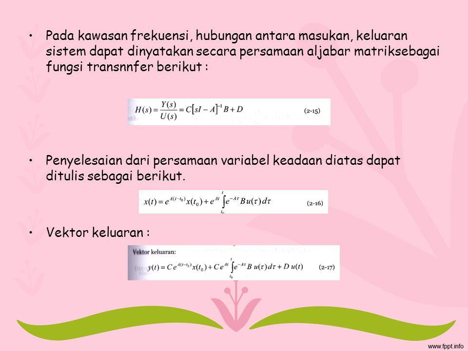Pada kawasan frekuensi, hubungan antara masukan, keluaran sistem dapat dinyatakan secara persamaan aljabar matriksebagai fungsi transnnfer berikut : P