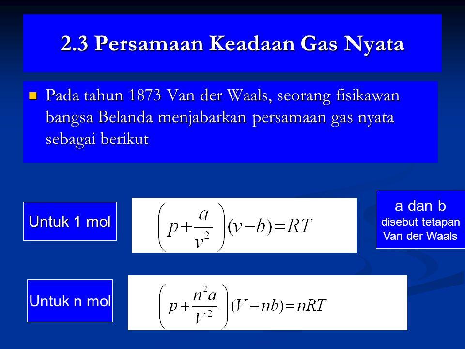 2.3 Persamaan Keadaan Gas Nyata Pada tahun 1873 Van der Waals, seorang fisikawan bangsa Belanda menjabarkan persamaan gas nyata sebagai berikut Pada tahun 1873 Van der Waals, seorang fisikawan bangsa Belanda menjabarkan persamaan gas nyata sebagai berikut 2.5a 2.5b Untuk n mol Untuk 1 mol a dan b disebut tetapan Van der Waals