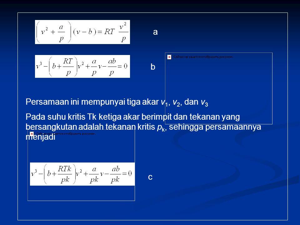 Persamaan ini mempunyai tiga akar v 1, v 2, dan v 3 Pada suhu kritis Tk ketiga akar berimpit dan tekanan yang bersangkutan adalah tekanan kritis p k,