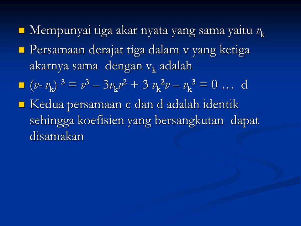 Mempunyai tiga akar nyata yang sama yaitu v k Mempunyai tiga akar nyata yang sama yaitu v k Persamaan derajat tiga dalam v yang ketiga akarnya sama de