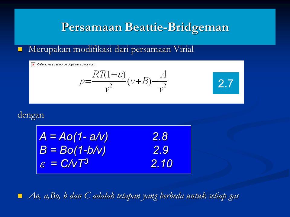 Persamaan Beattie-Bridgeman Merupakan modifikasi dari persamaan Virial Merupakan modifikasi dari persamaan Virialdengan Ao, a,Bo, b dan C adalah tetap