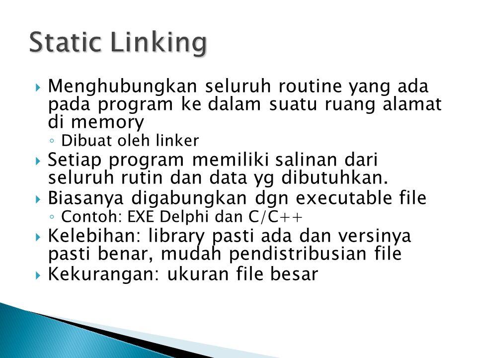  Menghubungkan seluruh routine yang ada pada program ke dalam suatu ruang alamat di memory ◦ Dibuat oleh linker  Setiap program memiliki salinan dari seluruh rutin dan data yg dibutuhkan.