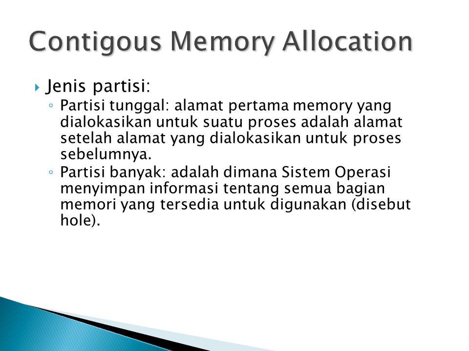  Jenis partisi: ◦ Partisi tunggal: alamat pertama memory yang dialokasikan untuk suatu proses adalah alamat setelah alamat yang dialokasikan untuk proses sebelumnya.