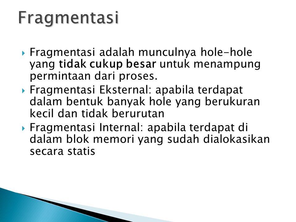  Fragmentasi adalah munculnya hole-hole yang tidak cukup besar untuk menampung permintaan dari proses.