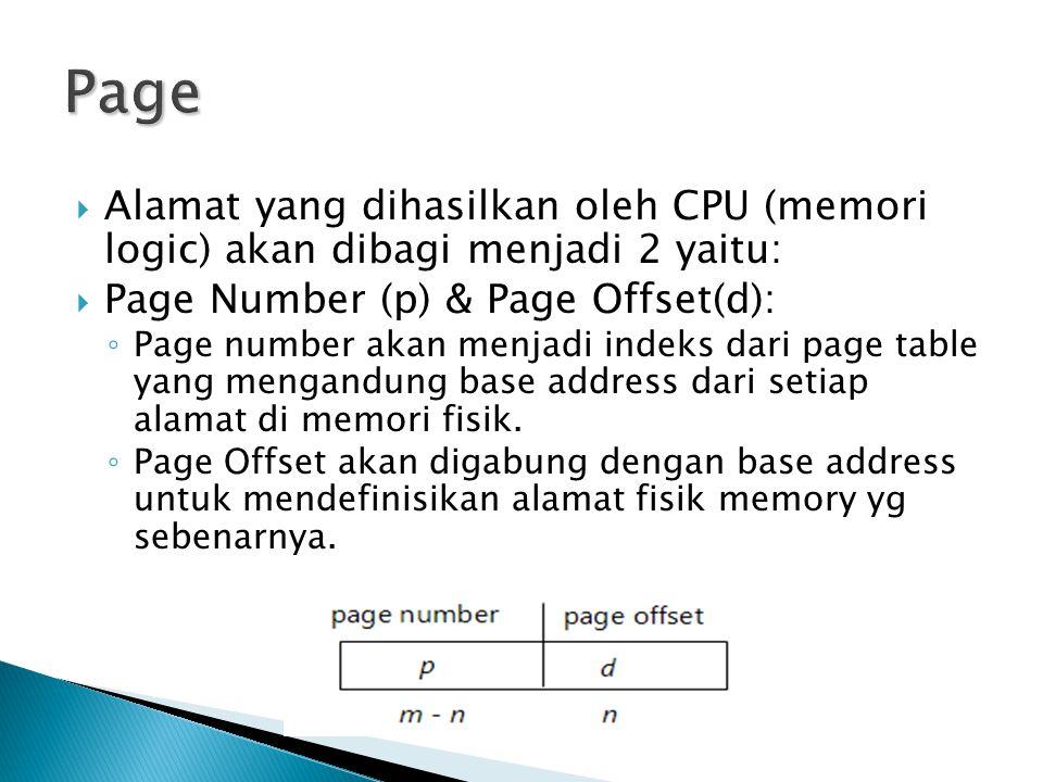  Alamat yang dihasilkan oleh CPU (memori logic) akan dibagi menjadi 2 yaitu:  Page Number (p) & Page Offset(d): ◦ Page number akan menjadi indeks dari page table yang mengandung base address dari setiap alamat di memori fisik.