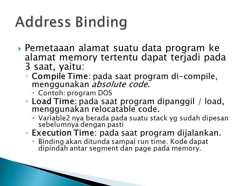  Pemetaaan alamat suatu data program ke alamat memory tertentu dapat terjadi pada 3 saat, yaitu: ◦ Compile Time: pada saat program di-compile, menggunakan absolute code.