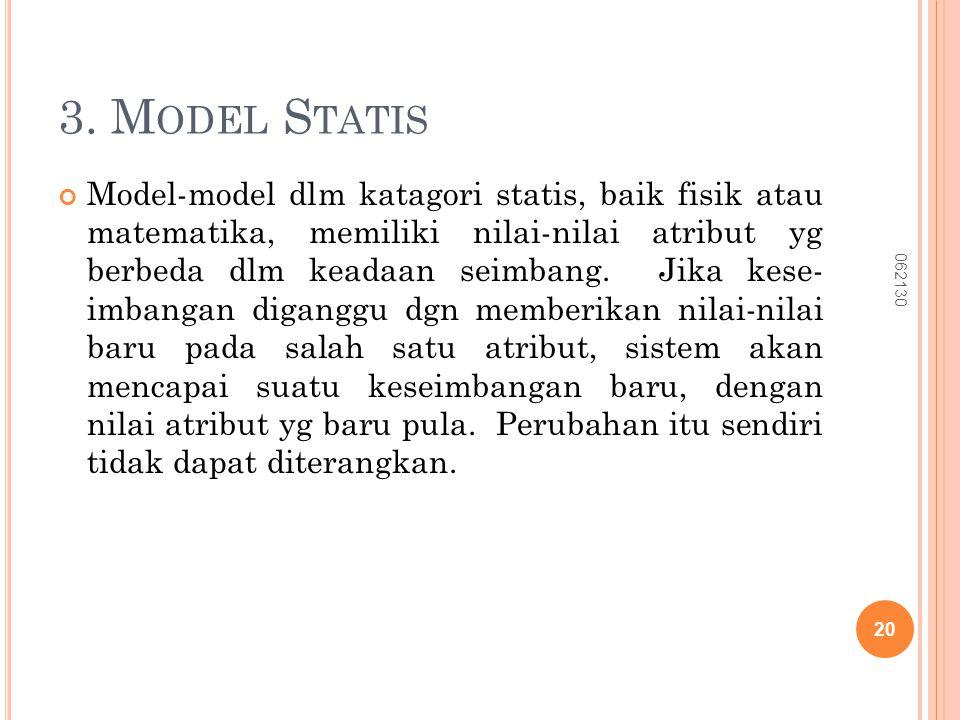 3. M ODEL S TATIS Model-model dlm katagori statis, baik fisik atau matematika, memiliki nilai-nilai atribut yg berbeda dlm keadaan seimbang. Jika kese