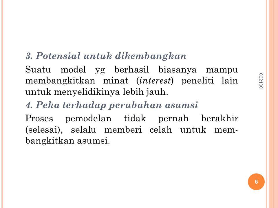 Dalam mengkonfirmasikan salah satu karak- teristik model, yaitu penyederhanaan sistem nyata.