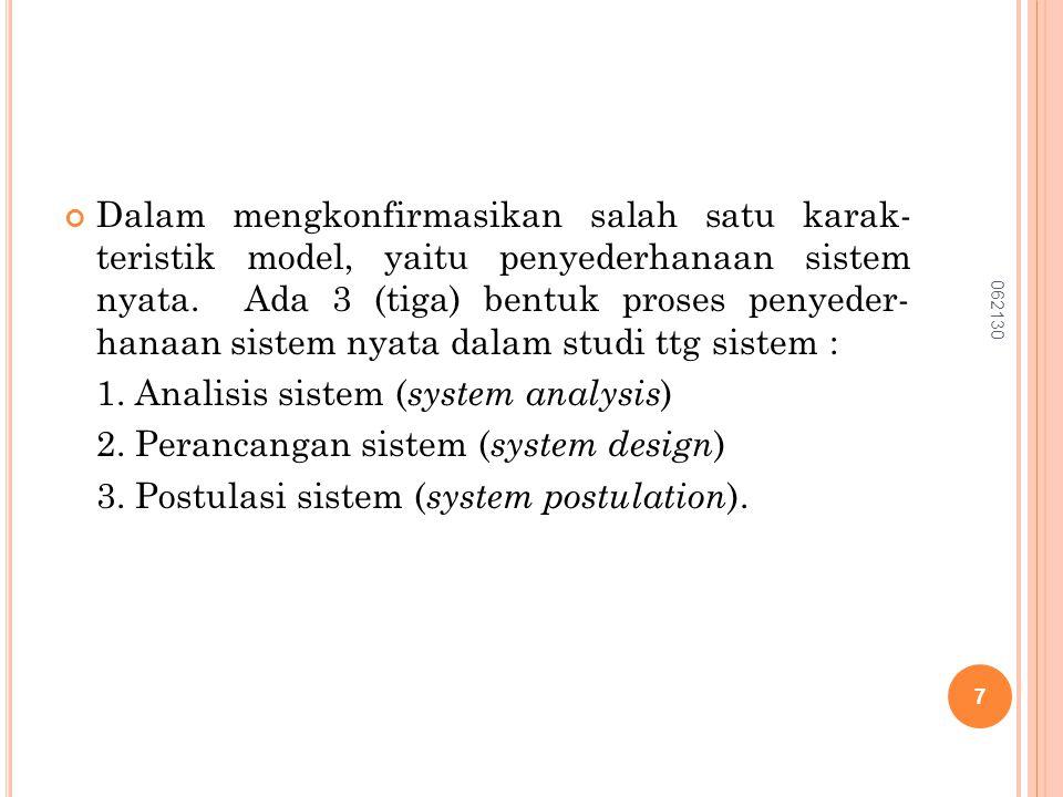 Dalam mengkonfirmasikan salah satu karak- teristik model, yaitu penyederhanaan sistem nyata. Ada 3 (tiga) bentuk proses penyeder- hanaan sistem nyata