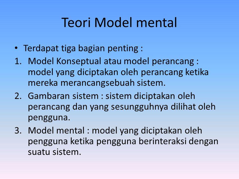 Teori Model mental Terdapat tiga bagian penting : 1.Model Konseptual atau model perancang : model yang diciptakan oleh perancang ketika mereka meranca
