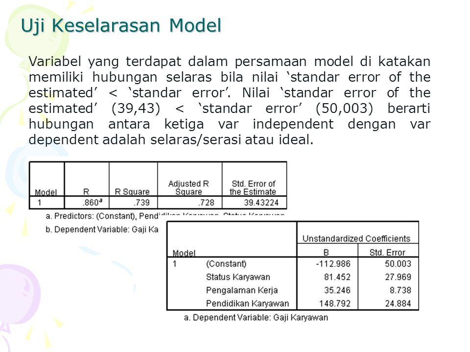 Uji Keselarasan Model Variabel yang terdapat dalam persamaan model di katakan memiliki hubungan selaras bila nilai 'standar error of the estimated' < 'standar error'.