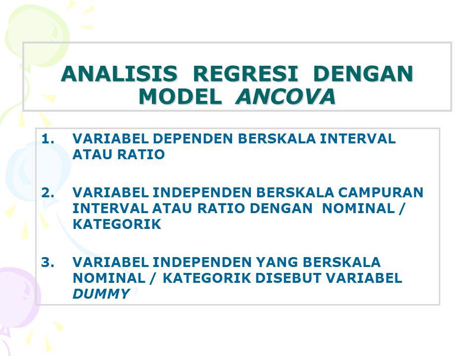 ANALISIS REGRESI DENGAN MODEL ANCOVA 1.VARIABEL DEPENDEN BERSKALA INTERVAL ATAU RATIO 2.VARIABEL INDEPENDEN BERSKALA CAMPURAN INTERVAL ATAU RATIO DENGAN NOMINAL / KATEGORIK 3.VARIABEL INDEPENDEN YANG BERSKALA NOMINAL / KATEGORIK DISEBUT VARIABEL DUMMY
