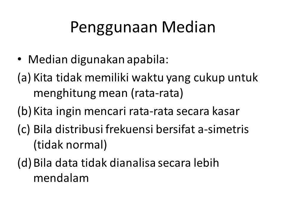 Penggunaan Median Median digunakan apabila: (a)Kita tidak memiliki waktu yang cukup untuk menghitung mean (rata-rata) (b)Kita ingin mencari rata-rata secara kasar (c)Bila distribusi frekuensi bersifat a-simetris (tidak normal) (d)Bila data tidak dianalisa secara lebih mendalam