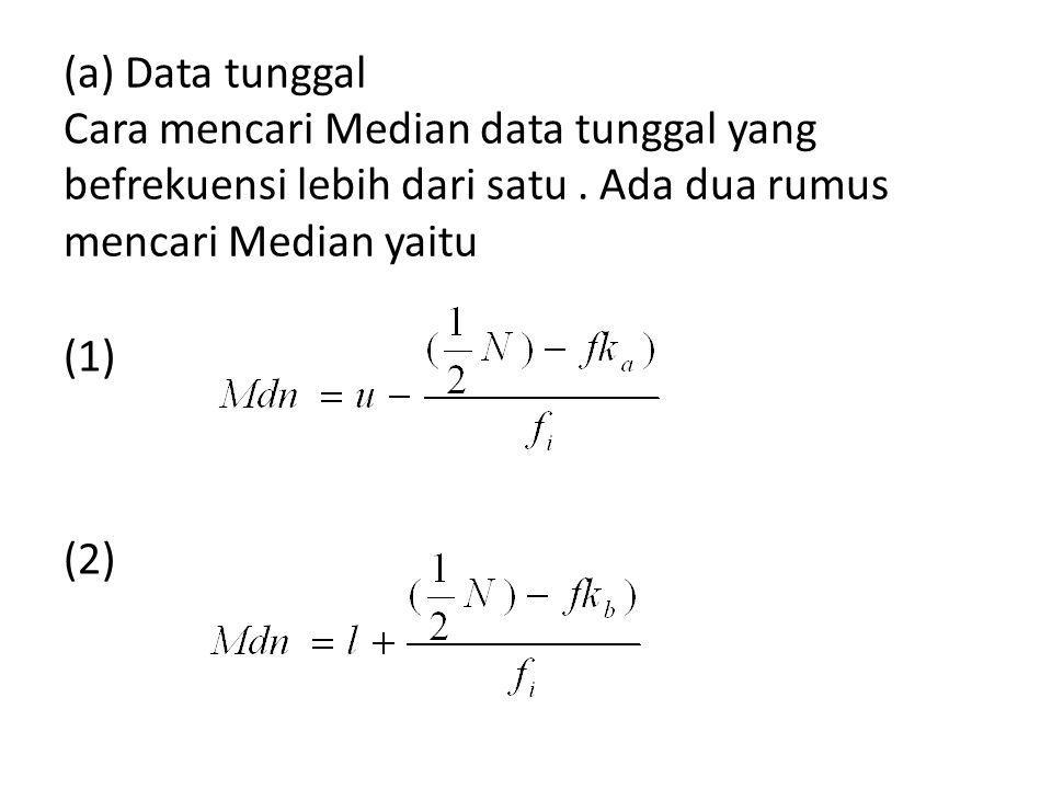 Penjelasan Tentang Rumus u = batas atas nyata yang mengandung Median l = bata bawah nyata yang mengandung Median fka = Frekuensi kumulatif di atas sektor yang mengandung median fkb = frekuensi kumulatif di bawah sektor yang mengandung median fi = frekuensi asli N = Jumlah frkuensi