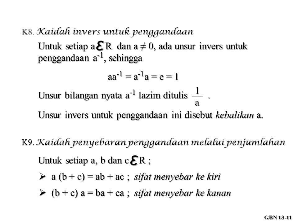 K8. Kaidah invers untuk penggandaan Untuk setiap a R dan a ≠ 0, ada unsur invers untuk penggandaan a -1, sehingga ε aa -1 = a -1 a = e = 1 Unsur bilan