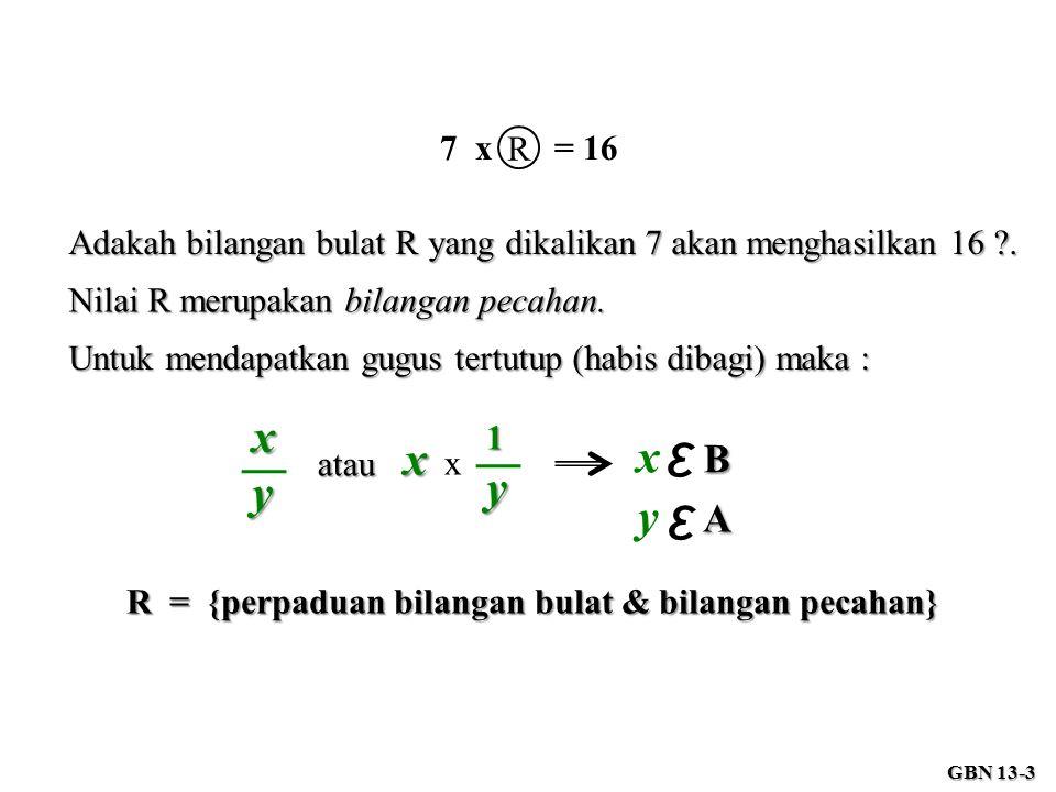 7 x = 16 R Adakah bilangan bulat R yang dikalikan 7 akan menghasilkan 16 ?. Nilai R merupakan bilangan pecahan. Untuk mendapatkan gugus tertutup (habi
