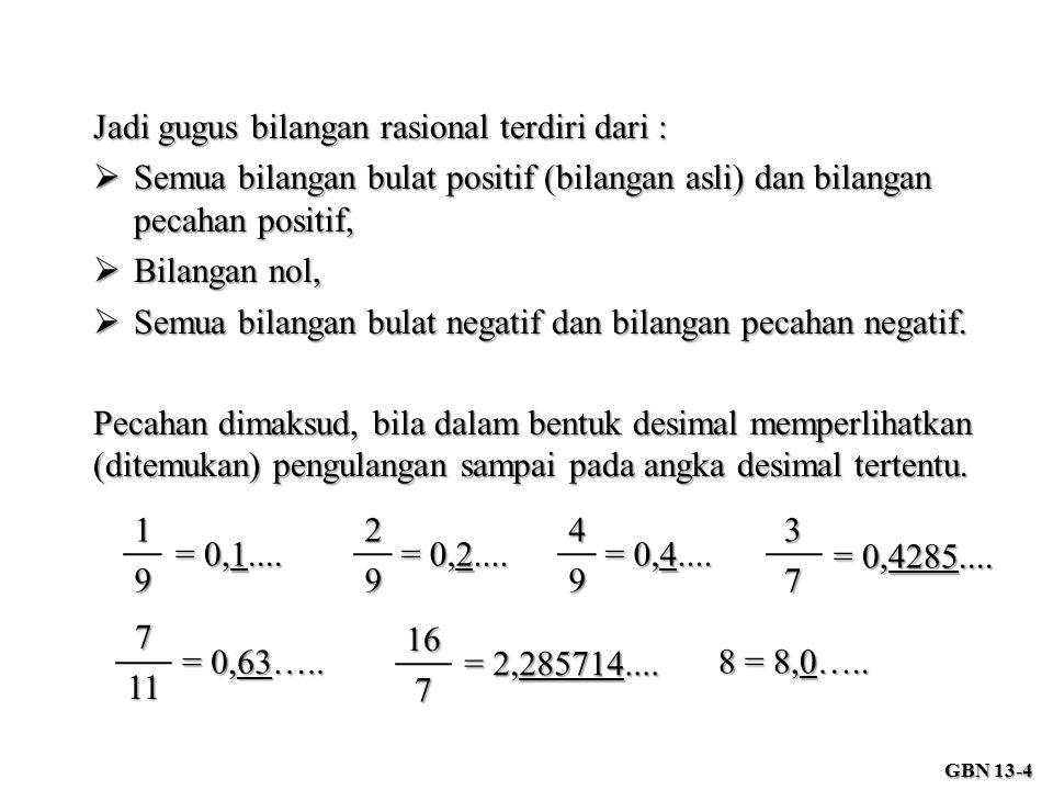 Pecahan dimaksud, bila dalam bentuk desimal memperlihatkan (ditemukan) pengulangan sampai pada angka desimal tertentu. 167 = 2,285714.... 37 = 0,4285.