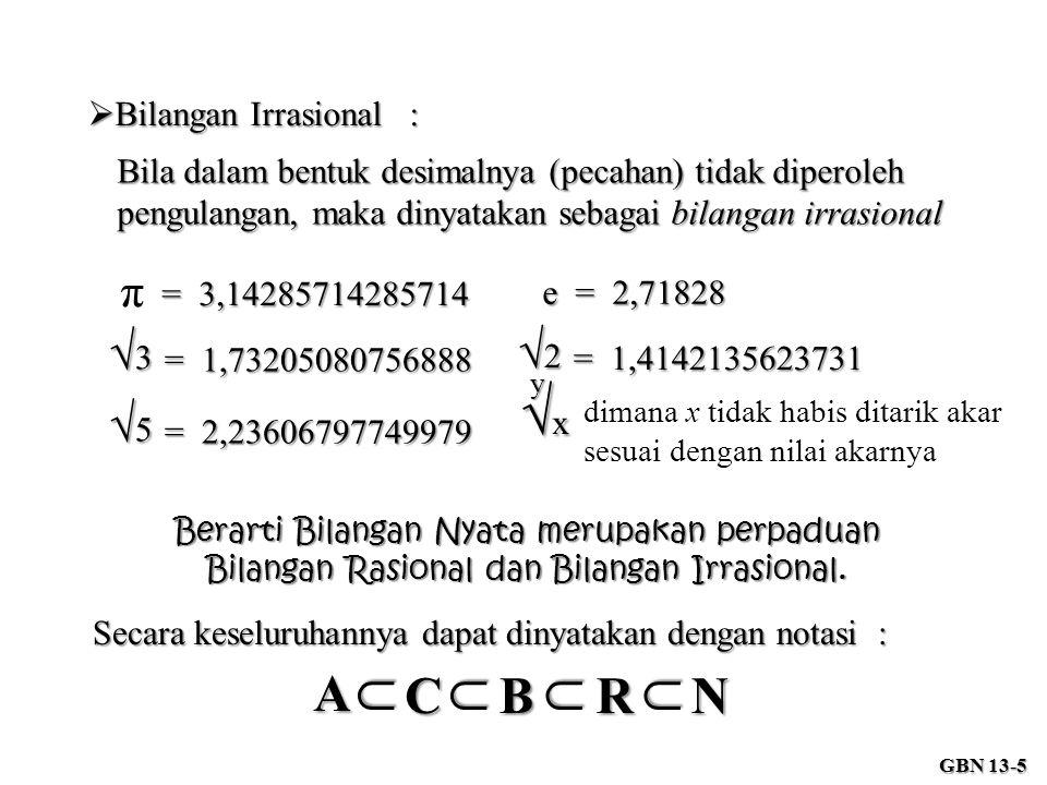  Bilangan Irrasional : Bila dalam bentuk desimalnya (pecahan) tidak diperoleh pengulangan, maka dinyatakan sebagai bilangan irrasional = 3,14285714285714 π √3√3√3√3 = 1,73205080756888 √x√x√x√xy dimana x tidak habis ditarik akar sesuai dengan nilai akarnya Berarti Bilangan Nyata merupakan perpaduan Bilangan Rasional dan Bilangan Irrasional.
