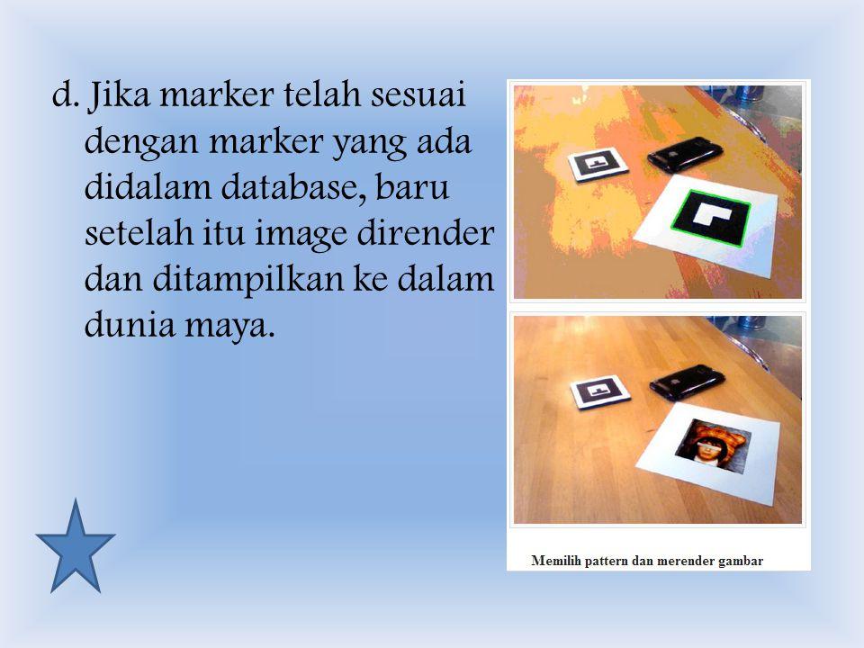 d. Jika marker telah sesuai dengan marker yang ada didalam database, baru setelah itu image dirender dan ditampilkan ke dalam dunia maya.