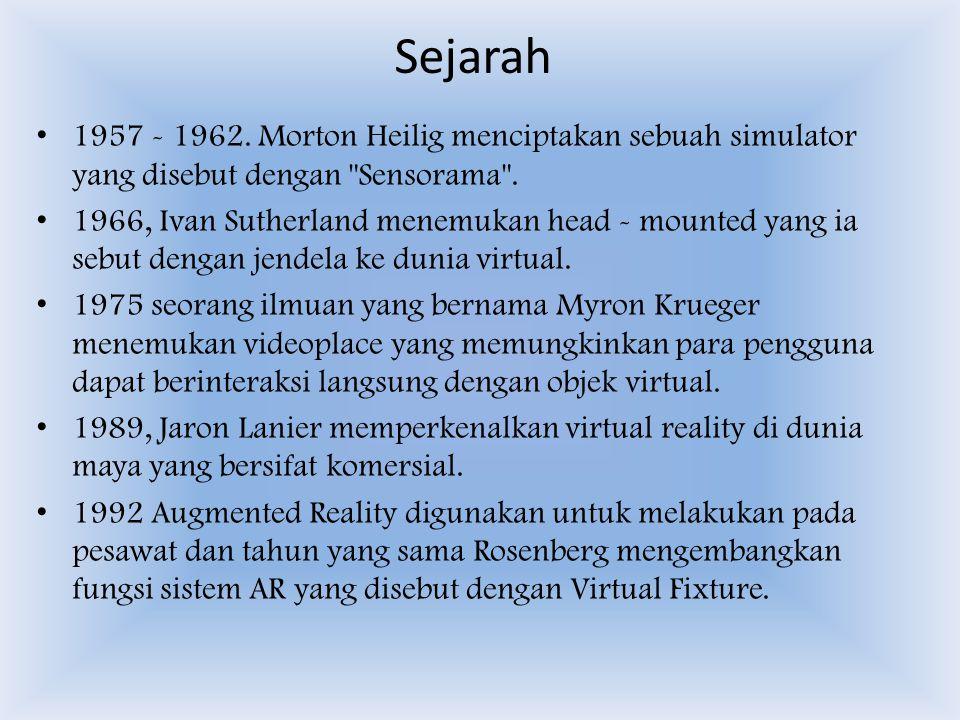 Sejarah 1957 - 1962.Morton Heilig menciptakan sebuah simulator yang disebut dengan Sensorama .