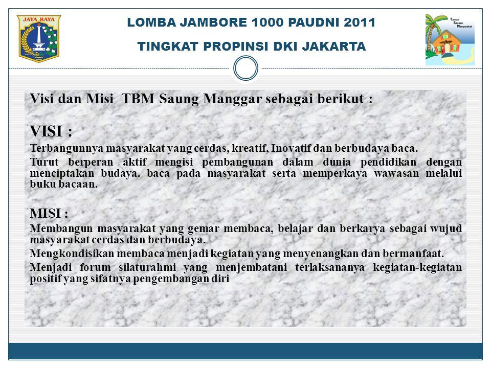 Visi dan Misi TBM Saung Manggar sebagai berikut : VISI : Terbangunnya masyarakat yang cerdas, kreatif, Inovatif dan berbudaya baca. Turut berperan akt