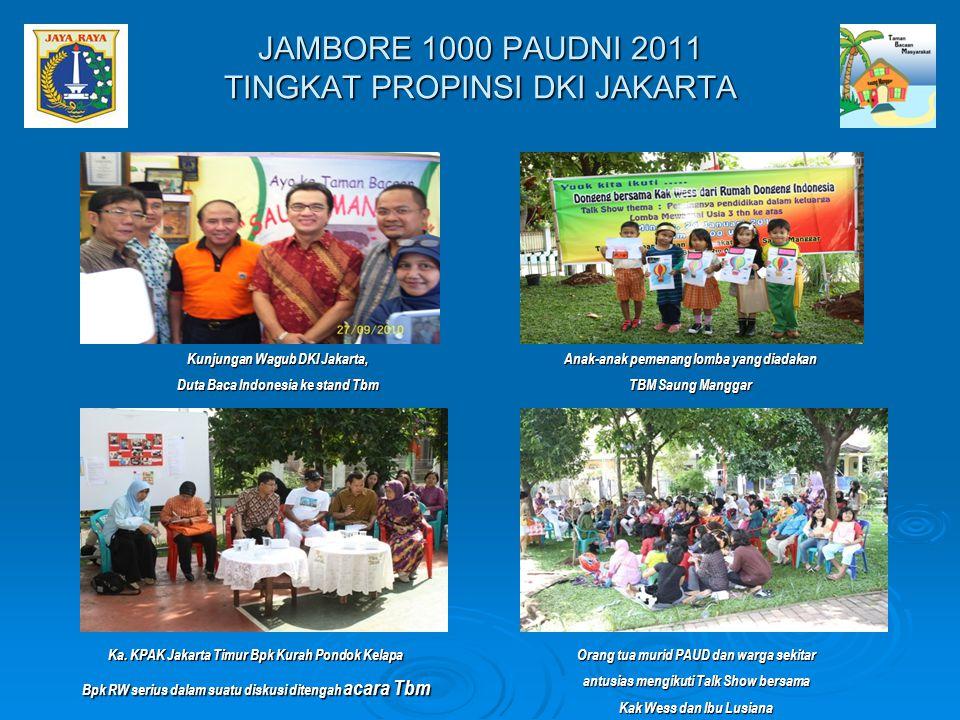 Kunjungan Wagub DKI Jakarta, Duta Baca Indonesia ke stand Tbm Anak-anak pemenang lomba yang diadakan TBM Saung Manggar JAMBORE 1000 PAUDNI 2011 TINGKA